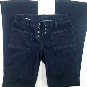 Theory Black Lace Up Denim Size 4